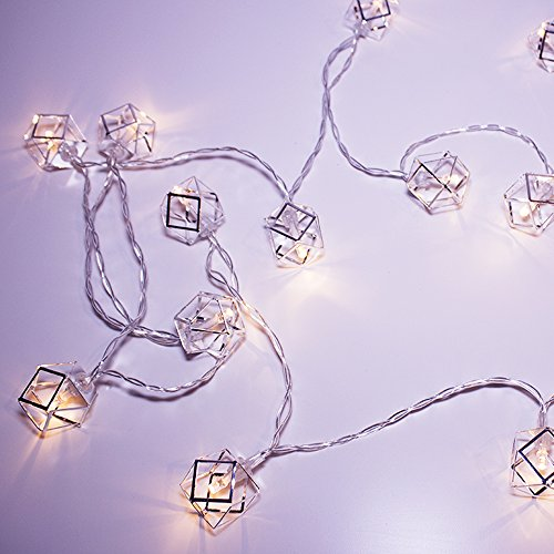LuxLumi Geo-Silver Pendant String Lights Batteries Included with 20 Caged Silver Metal Soft White LED Lights for Home Decor Bedroom Dorm Teen Kids Nursery Bridal & Baby Shower Christmas Holiday Party