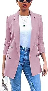 Emmay Gilet Donna Primaverile Autunno Slim Smanicato Essenziale Bavero Fit Gil/è Cappotto Casuale Business Ufficio Blazer Giacca con Tasche
