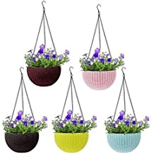Varshine Hanging Flower Pot Basket with Hook Chain for Home Gardener Grower Planter Office Balcony ( 6 inch) set of 5 With Drainage for all house plants, flowers, herbs and succulents    ( Only pot without flower)