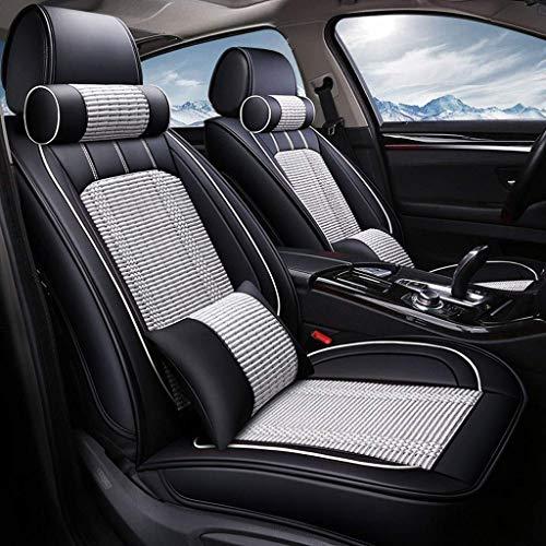KBZW Autostoelhoes, 5 zitplaatsen, universeel inzetbaar, van leer, Silk-uurwerk, compleet met 4 seizoenen, voor ondergoed, compatibel met airbag-kussens Grijs