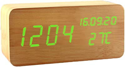 Liukouu R/éVeil Couleur du Bois Massif Horloge R/éVeil /éLectronique Digital Horloge en Bois avec /éCran LED pour Cadeau De Chambre /à Coucher