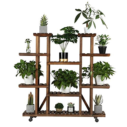 Yaheetech Plant Stand Shelf Indoor - 6 Tier Tiered Wood Plant Flower Pots Shelves Rack Holder Stand Indoor Outdoor for Multiple Plants Garden Balcony Patio Living Room