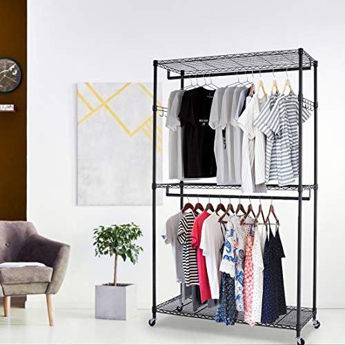 Jukert 3 Shelves Wire Shelving Clothing Rack, Double Rod Sturdy Clothes Rack, Heavy Duty Garment Rack, Rolling Hanging Commercial Grade Garment Rack Closet (One Pair Hook and Two Hanging Rods Black)