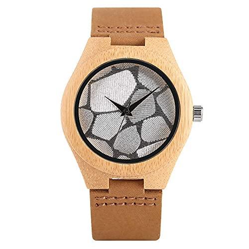 HYLX Reloj de Madera de Cuarzo de Moda para Mujer, Relojes de Madera con Esfera Plateada únicos para niñas, Correa de Cuero Duradera con Reloj de Pulsera con Hebilla para Damas