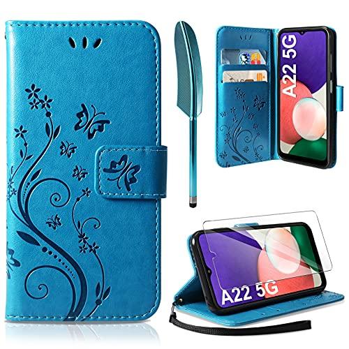 AROYI Lederhülle Kompatibel mit Samsung Galaxy A22 5G Hülle & Schutzfolie (Nicht für 4G), Flip Wallet Handyhülle PU Leder Tasche Hülle Kartensteckplätzen Schutzhülle Blau