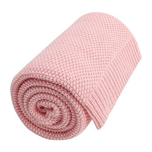 PiccoCasa 100% Cotton Knit Blanket Full Size,Solid Lightweight Decorative Throws and Blankets,Soft Knitted Throw Blanket for Sofa Couch, Pink 70' x 78'