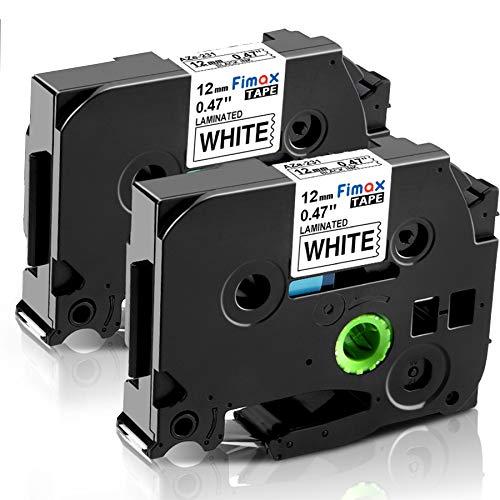 Nastro Cassette Etichette Fimax Compatibile In sostituzione di Brother P-touch TZe-231 12mm 0.47 Nero su Bianco Stampanti per TZ Tape Ptouch PT-107B 1000 H105 H110 H100R 1005 1010 (2Pz.)