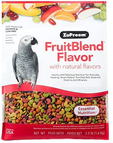 ZuPreem FruitBlend Flavor Pellets Bird Food for Parrots and Conures, 3.5 lb bag | Powerful Pellets Made in the USA, Naturally Flavored for Conures, Caiques, African Greys, Senegals, Amazons, Eclectus,