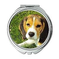 ミラー、メークアップミラー、ビーグル犬ビーグル犬犬犬純正、ポケットミラー、携帯用ミラー