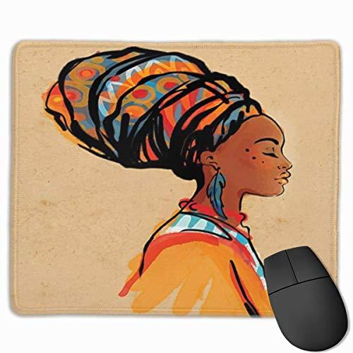 Muiskussen, muismat, Afrikaanse vrouw met exotische veren oorbel en sjaal Zulu Hippie Artwork Standaard grootte Caramel Merigold