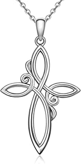 Celtic Knot Cross Necklace Women Sterling Silver Cross Pendant Infinity Love Celtic Necklaces Irish Religious Faith Jewelry
