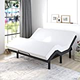 Allewie Adjustable Bed Base Frame / King Size Bed Upholstered Frame Head and Foot Incline / Wireless Remote Control / Wood Board Support with Upholstered Attached/ (King Adjustable Bed Only)