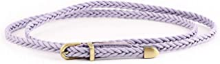 Women Fashion Braided PU Leather Dress & Jeans Narrow Waist Rope Belt for Girls and Ladies Alloy Buckle