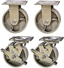 Service Caster SCC-30CS420-SSR-TLB-2-R420-2 Heavy Duty Semi Steel Cast Iron Casters, Swivel with Brakes 2 Rigid, 4000 pounds Capacity, 4
