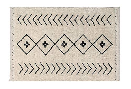 Lorena Canals Tapis Lavable Bereber Rhombs 100% Coton -Noir- Beige- 170x120 cm