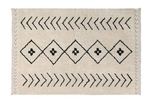 Lorena Canals Alfombra Lavable Bereber Rhombs Algodón Natural - Beige , Negro - 170x120 cm