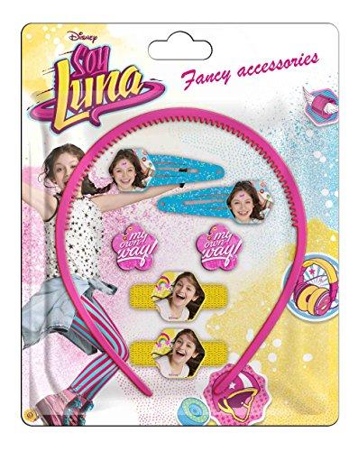 Soy Luna- Blíster de 7 piezas de accesorios para pelo, unica (Kids Euroswan WDSL072)