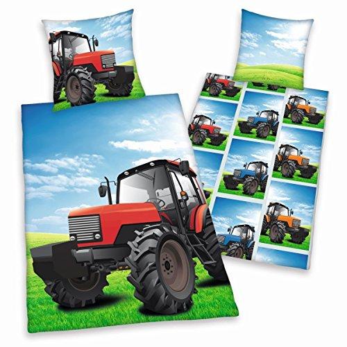 Herding Young Collection Bettwäsche-Set, Traktor Wendemotiv, Bettbezug 135 x 200 cm, Kopfkissenbezug 80 x 80 cm, Baumwolle/Renforcé