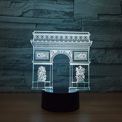 Frankreich Arc De Triomphe Tor Gebäude LED 3D Nachtlicht LED Bunte Nachtlicht Lampe Schlafen Beleuchtung Kind Kinder Spielzeug Geschenke