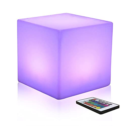 Mr.Go 25cm Colour Changing Mood Cube Light with Remote Control, Led Night Light with Rechargeable Battery, 8 Dimmable Brightness, 16 Adjustable RGB Colours, Bedside Table Lamp for Kids Bedroom