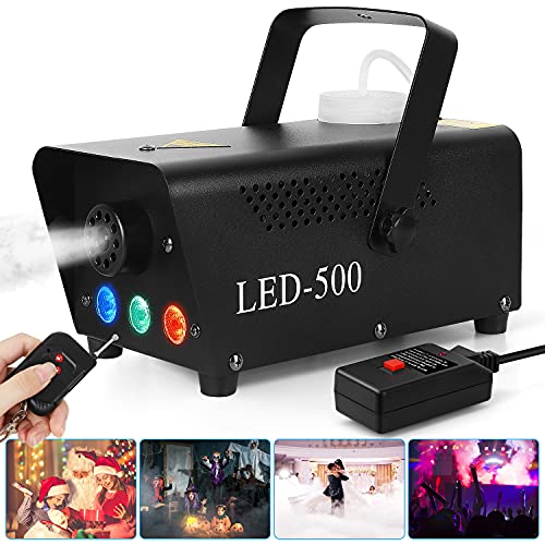 Fog Machine, 500W Portable Led Fog Machine with 11ft Wired Receiver and Wireless Remote Control, Three-Color Smoke…