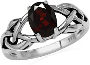 Silvershake 1.4ct. 8X6mm Natural Oval Shape Garnet 925 Sterling Silver Celtic Knot Solitaire Ring