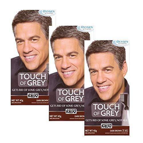 3 x Touch of Grey Herren Haarfarbe – wählen Sie Ihre Farbe – Dunkelbraun Grau T45