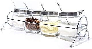 SGJFZD Glass Kitchenware Set Seasoning Bottle Seasoning Jar Rack Creative Salt and Pepper Bottle with Spoon Spice Box Set...