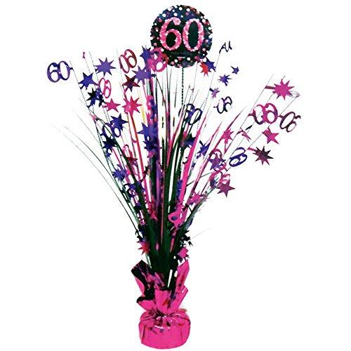 Feste Feiern Tischdeko zum 60. Geburtstag I 46cm Tischaufsteller Kaskade Tischaufsatz Zahl 60 Pink Schwarz Lila metallic Party Deko Set happy birthday 60