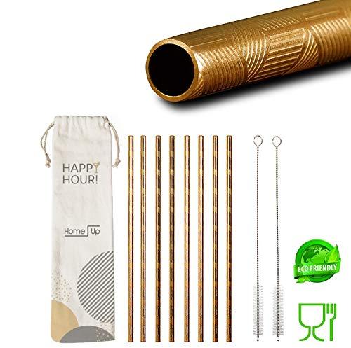 HomeUp Premium Design Goldene Edelstahl Strohhalme - Set 8X gerade, Wiederverwendbare Trinkhalme und 2 Reinigungsbürsten - spülmaschinenfest - Gold Reusable Metal Steel Straws (215 x 6mm)