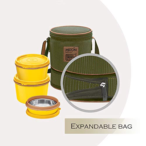 Milton Flexi 2+1 Inner Stainless Steel Lunch Box with Jacket, Set of 3, (Yellow)