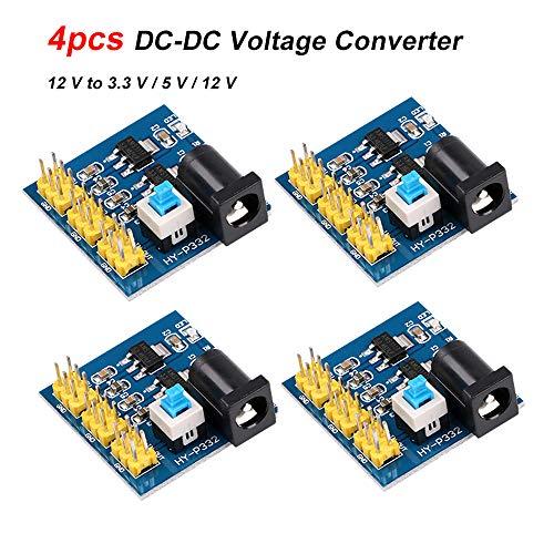 Innovateking-EU Convertidor del Voltaje de 4pcs DC-DC Módulo de Fuente de alimentación de Salida múltiple Módulo Reductor de 12 V a 3,3 V / 5 V / 12 V convertidor para Arduino