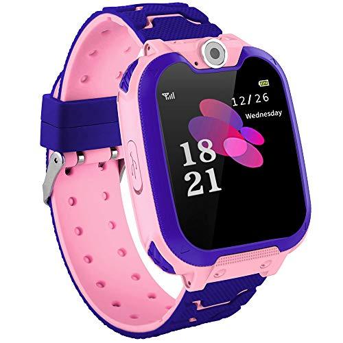 KZKR Armbanduhr für Kinder, Spieluhr mit Kamera, Musik-Player, Schulmodus, Wecker, SOS-Anrufe, Smartwatch, für Kinder 4 – 12 Jahre, für Mädchen, Jungen, Rosa