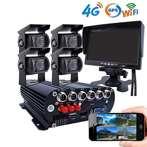 JOINLGO 4CH GPS 4G WiFi 1080P AHD HDD Hard Disk Mobile Vehicle Car DVR MDVR Video Recorder Kit Real-time Monitor on PC Phone with 4pcs 2.0MP Side Rear View IR Metal Car Camera 7 inches Car Monitor