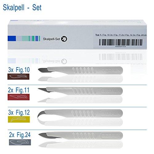 Horn Medical Einweg Skalpell Set Typ I, Fig 10 (3x), Fig 11(2x), Fig 12 (3x), Fig 24 (2x), steril, 10 Skalpelle für Medizin und Hobby