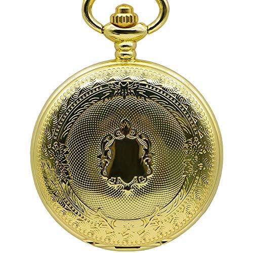 J-Love Reloj de Bolsillo mecánico de Cuerda Manual con diseño de Shiled Dorado para Hombres y Mujeres, Regalo con Cadena Fob