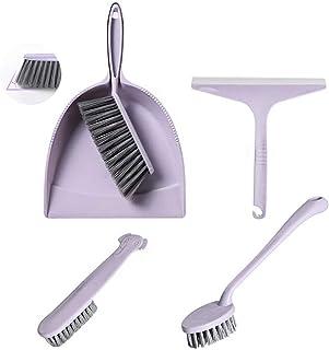 meioro ちりとりとブラシのセット、ほうきとちりとりの多機能クリーニングツール、シャワースクレーパー/スクレーパー、家庭用キッチンスクラブ、バスルームデスク、子供用クリーニングとほこり除去用品、5個セット (パープル)