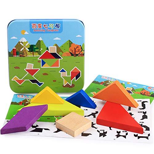 NiceButy One Box Puzzle di Legno del giocattolo rompicapi giocattolo Burr Jigsaw Puzzle Toy Intelligenza Set con Iron Box per Bambini in età prescolare Giocare Regali (Tangram) Partito