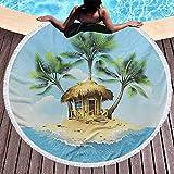 Manta de playa Tapiz redondo tropical para colgar en la pared Bungalow de madera tropical Tres palmeras en una isla pequeña Ilustraciones de dibujos animados para la playa Alfombra de picnic Estera de