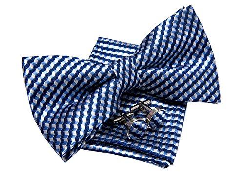 Retreez Herren Gewebte vorgebundene Fliege Wellig Zick-Zack Gestreifte 13 cm und Einstecktuch und Manschettenknöpfe im Set, Geschenkset, Weihnachtsgeschenke - dunkelblau