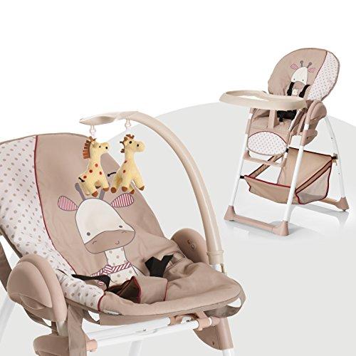Hauck Mitwachsender Hochstuhl Sit N Relax / Neugeborenen Aufsatz ab Geburt bis 9 kg / Kinder Sitz bis 15 kg / Höhenverstellbar / Faltbar / Räder / Spielbogen / Tablett / Korb / Braun