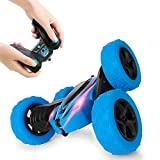 Remote Control Car, 4WD 2.4 Ghz High Speed Electric RC Stunt Car, 360° Double-Side Spinning & Tumbling, LED Headlight, Kids Toy Car for Boys and Girls (Blue)