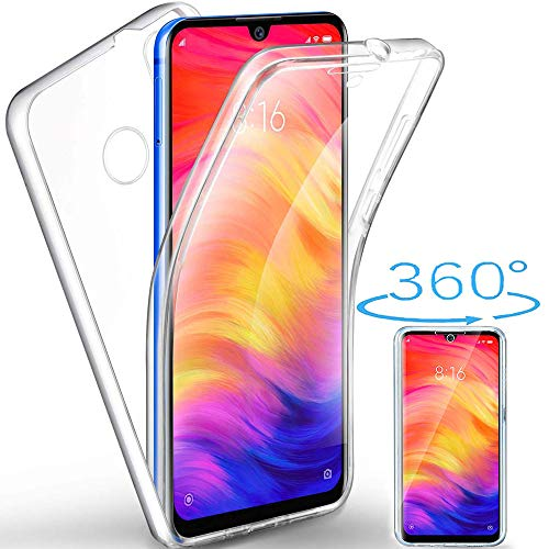 Funda para Xiaomi Redmi Note 7 Silicona,Carcasas[Carcasa Protectora 360 Grados Full Body] Transparente Suave Ultrafina Gel Silicona TPU+PC Anti-Choque Anti-Arañazos Protectora Case