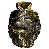 Micdime Sudadera con Capucha de Cabeza de Lobo Impreso en 3D Hombres Mujeres Sudaderas con Capucha de Moda Informal Sudaderas con Capucha Sueltas de Primavera para Hombre LMS-1519 2XL