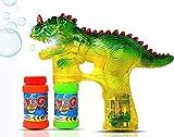GELRIZTY Pistola a Bolla a LED Dinosauro   Toy Bubble Blaster per Bambini, Ragazzi, Feste   con 2x50ml di Liquido a Batteria,per Bambini, Feste, Verde (Batterie Non Incluse)