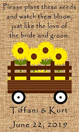 Wedding Wildflower Seed Packet Favors 100 qty. Personalized-Burlap Sunflower Wagon Design 6 verses to choose