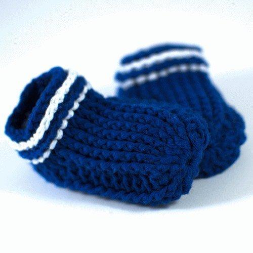 Babypuschen blau/weiss Baumwolle, gehäkelt, M - ca. 11 cm, Geschenkidee