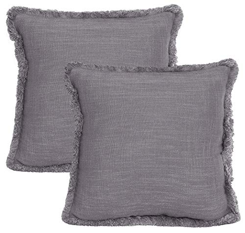 ACCENTHOME Cotton Slub Textrured Christmas Decorative Cushion Cover,Throw Pillow Case for Home Sofa Couch Chair Back Seat,2pc Pack 18X18 inch in Cotton Textured Slub with Matching lace in Grey Colour