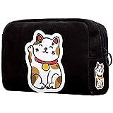 Neceser Viaje Hombre y Mujer Gatos de la Suerte de Japón Pequeño Bolsas de Aseo Neceser Maquillaje Pack Neceser Baño Toiletry Kit, Cosmético Organizadores de Viaje 18.5x7.5x13cm