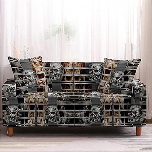 Czaszka kwiat narzuty na sofę Stretch narzuty ochraniacz na meble narożnik Loveseat elastyczny pokrowiec na kanapę 1/2/3/4-siedzenie ramię pokrowiec na krzesło,Style 2,1 Seater
